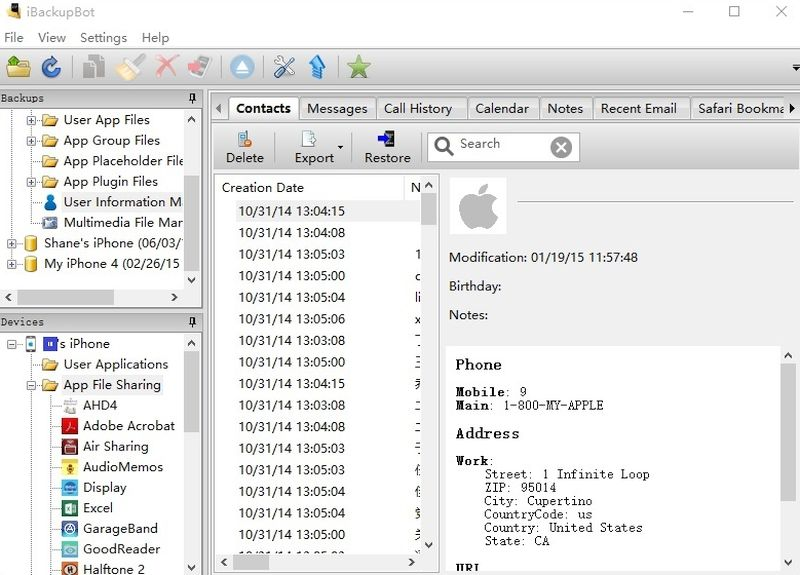 iBackupbot for iPhone backup with MDM profile
