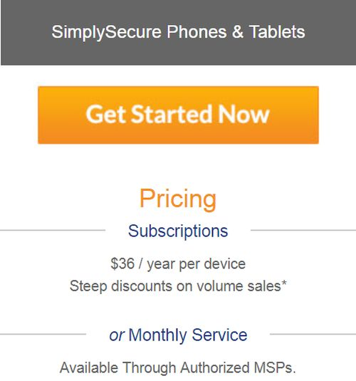 SimplySecure iPhone MDM Cost