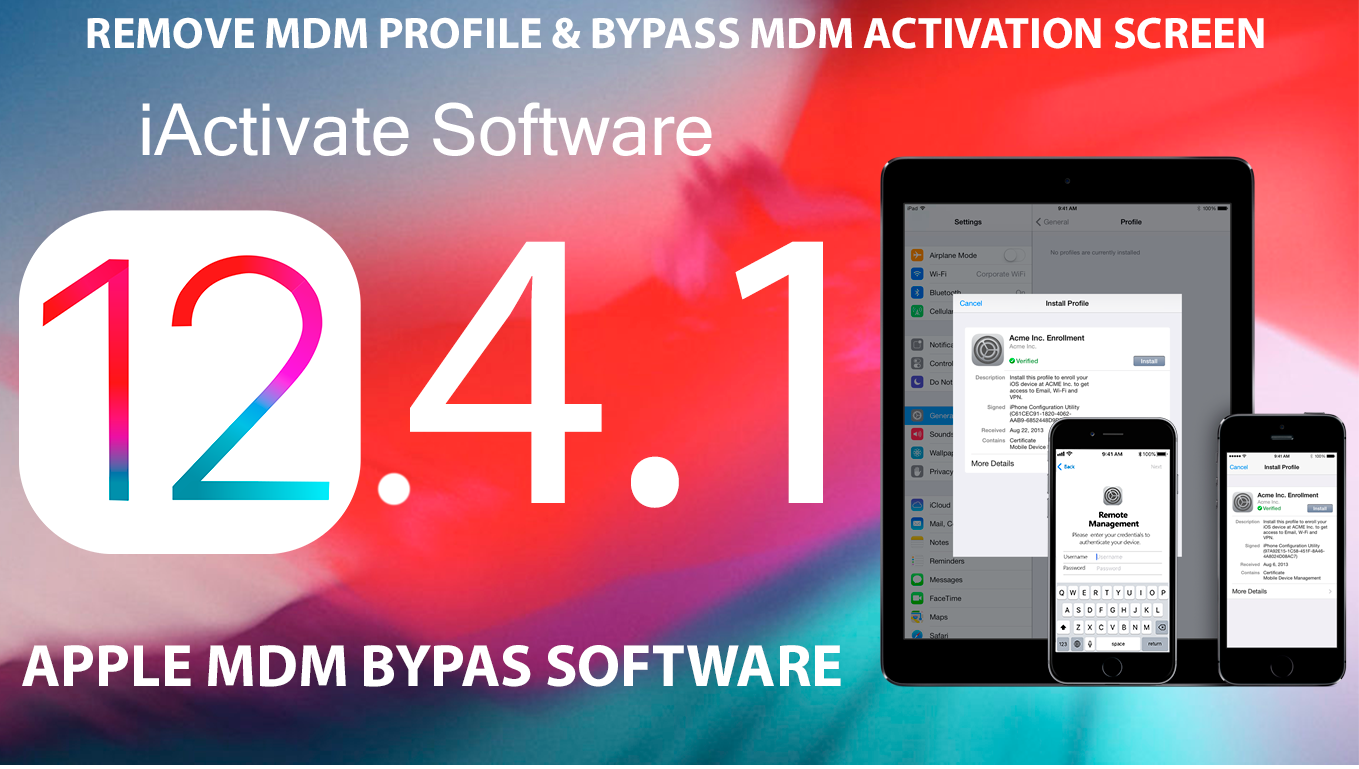 Bypass Apple MDM profile iOS 12.4.1 using iActivate Software