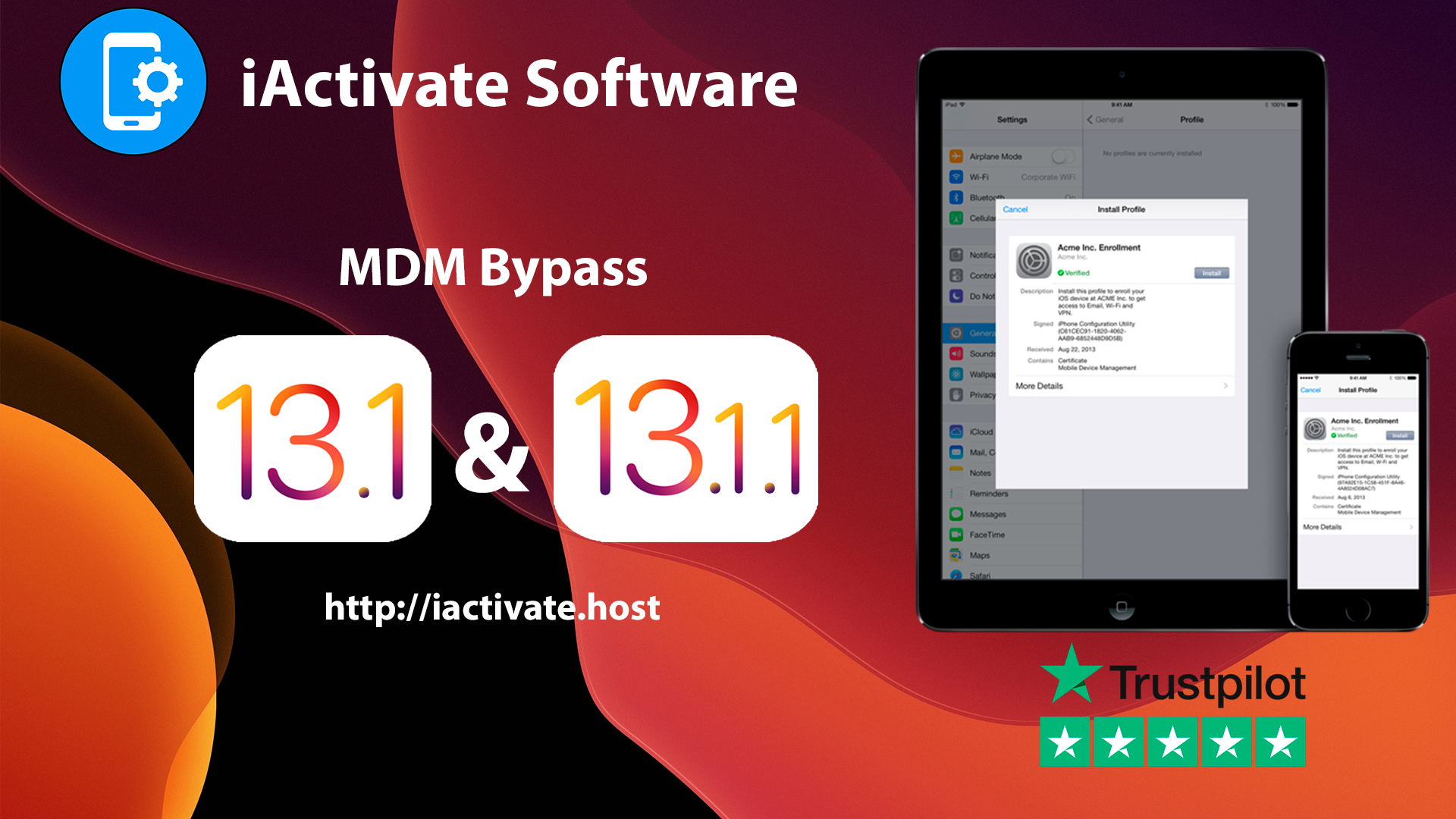 Bypass MDM profile on iOS 13.1, 13.1.1 & 13.1.2 using iActivate